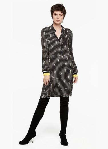 Ribana Kollu Desenli Elbise-Twist